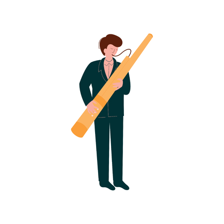 Man Playing Traditional Bassoon, Musician Playing Woodwind Instrument Vector Illustration on White Background. Vettoriali