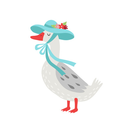 Beautiful White Goose Cartoon Character Wearing Light Blue Elegant Hat With Flowers Vector Illustration on White Background.