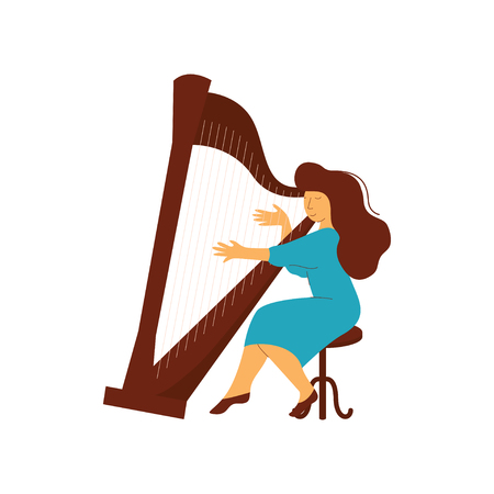 Female Musician Playing Harp Classical Musical Instrument Vector Illustration on White Background. Ilustração