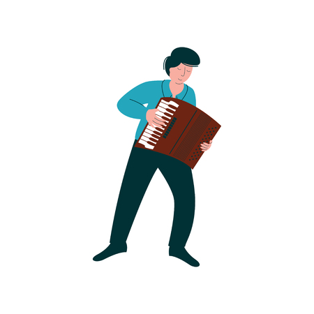 Male Musician Playing Accordion, Man with Musical Instrument Vector Illustration on White Background. Illustration
