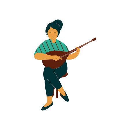 Female Musician Playing Domra Musical Instrument Vector Illustration on White Background. Stock Vector - 124974015