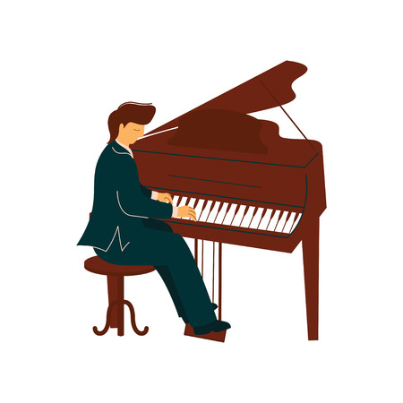 Male Musician Playing Classical Piano, Pianist Performs at Concert Vector Illustration on White Background.
