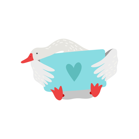 Cute White Goose Cartoon Character Sitting and Holding Light Blue Signboard with Heart Vector Illustration on White Background.