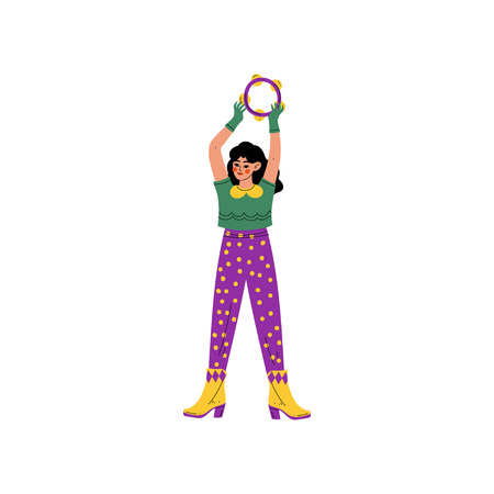 Young Woman Wearing Bright Traditional Mardi Gras Costume, Girl Celebrating Carnival Party with Tambourine Vector Illustration on White Background. Stock Illustratie