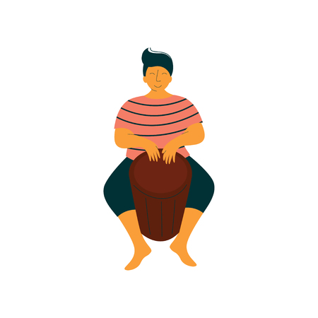 Male Mucisian Playing Ethnic Drum Vector Illustration on White Background.