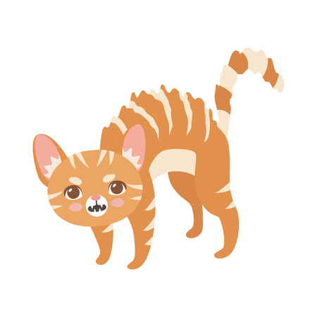 Striped Red Cat, Cute Kitten Animal Pet Character in Menacing Pose Vector Illustration on White Background.