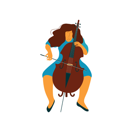 Young Woman Playing Cello, Female Cellist Musicain Playing Classical Music Vector Illustration on White Background. Ilustração