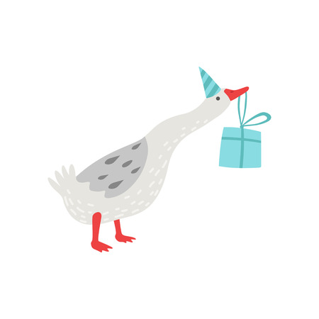White Goose Holding Gift Box in Its Beak, Cute Bird Cartoon Character Wearing Party Hat Vector Illustration on White Background. Illustration