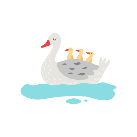 Beautiful White Goose Cartoon Character Swimming in Pond with Goslings Vector Illustration on White Background.