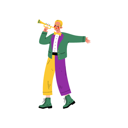 Young Man in Bright Traditional Mardi Gras Costume Playing Trumpet, Guy Celebrating Carnival Party Vector Illustration on White Background.