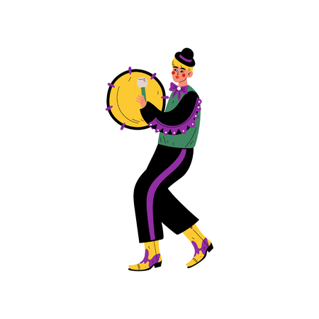 Young Man in Bright Traditional Mardi Gras Costume Celebrating Carnival Party with Tambourine Vector Illustration on White Background. Illustration