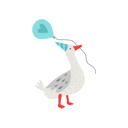 Cute White Goose Holding Balloon in Its Beak, Bird Cartoon Character Wearing Party Hat Vector Illustration on White Background. Illustration