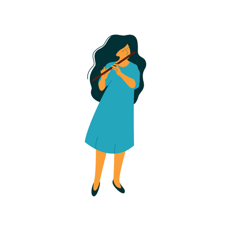 Young Woman Playing Flute, Female Musician Flutist with Classical Musical Instrument Vector Illustration on White Background. Ilustração