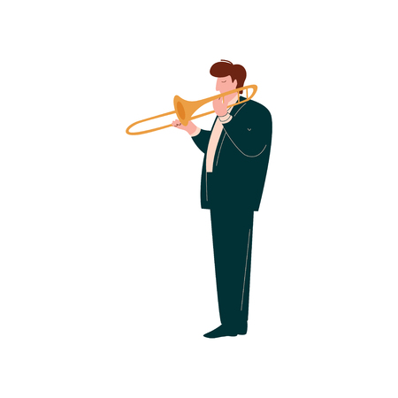 Young Woman Playing Trumpet, Female Musician Trumpeter Player with Classical Musical Instrument Vector Illustration on White Background.