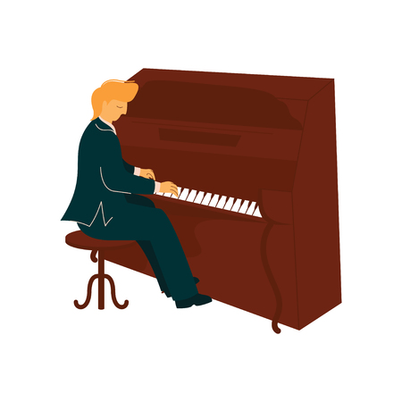 Male Musician Playing Piano, Pianist with Classical Musical Instrument Vector Illustration on White Background. 向量圖像