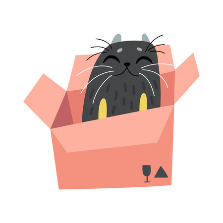 Black Funny Cat Sitting in Cardboard Box, Cute Animal Pet Character Vector Illustration on White Background. Illustration