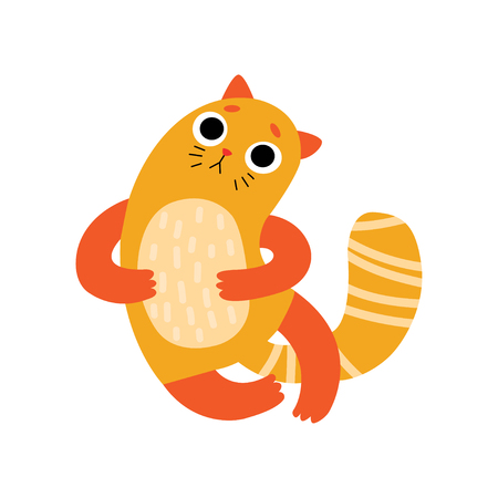 Cute Sad Cat, Funny Animal Pet Character Vector Illustration on White Background.