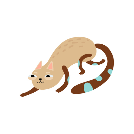 Funny Cat Sneaking, Cute Animal Pet Character Vector Illustration on White Background. Çizim