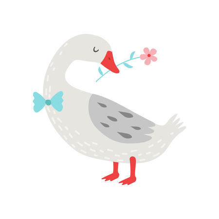 Cute White Goose Holding Flower in Its Beak Vector Illustration, Bird Cartoon Character Wearing Bow Tie Vector Illustration on White Background.