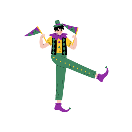 Man in Bright Traditional Mardi Gras Costume Celebrating Carnival with Party Flags Vector Illustration on White Background.