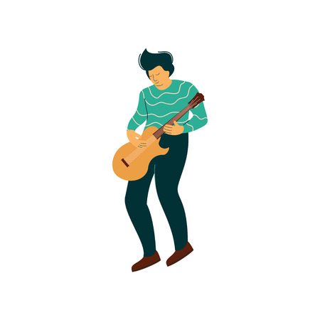 Young Man Playing Acoustic Guitar Vector Illustration on White Background. Ilustração