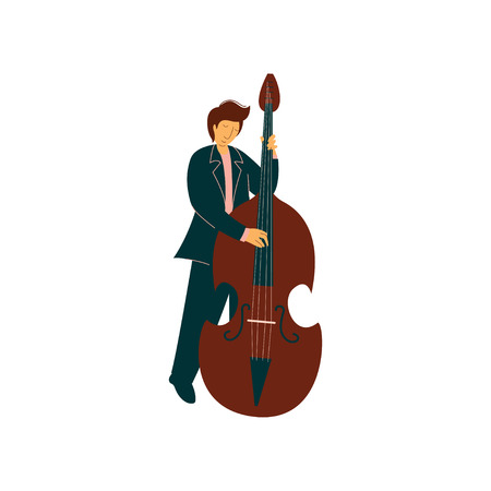 Young Man Playing Double Bass, Male Musicain Playing Classical Music Vector Illustration on White Background. Иллюстрация