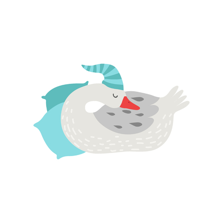Cute White Goose Cartoon Character Sleeping Wearing Hat Vector Illustration on White Background.
