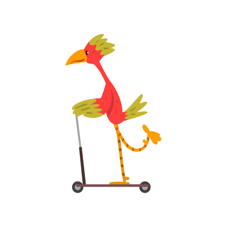 Colorful Bird Riding Kick Scooter, Funny Bird Character Using Vehicle Vector Illustration on White Background.