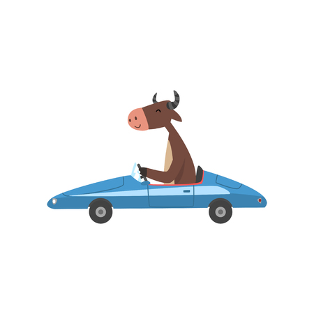 Cow Driving Blue Car, Farm Animal Character Using Vehicle Vector Illustration on White Background. Çizim