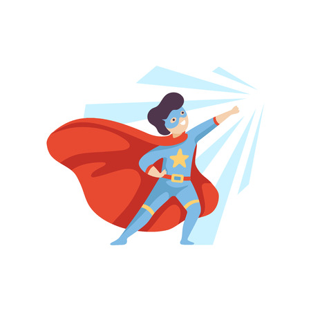 Cute Heroic Boy Wearing Superhero Costume, Super Child Character in Mask and Red Cape Vector Illustration on White Background.