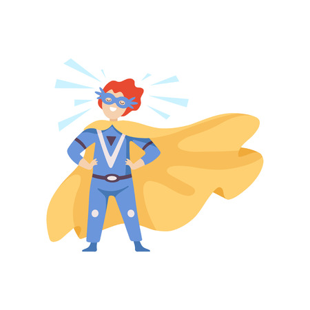Boy Wearing Blue Superhero Costume Standing in Heroic Pose, Super Child Character in Mask and Golden Cape Vector Illustration on White Background. Illustration