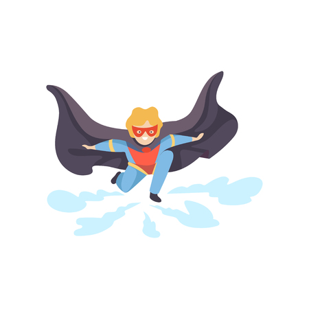 Boy Wearing Colorful Superhero Costume, Super Child Character in Red Mask and Black Cape Squatting Vector Illustration on White Background. Illustration