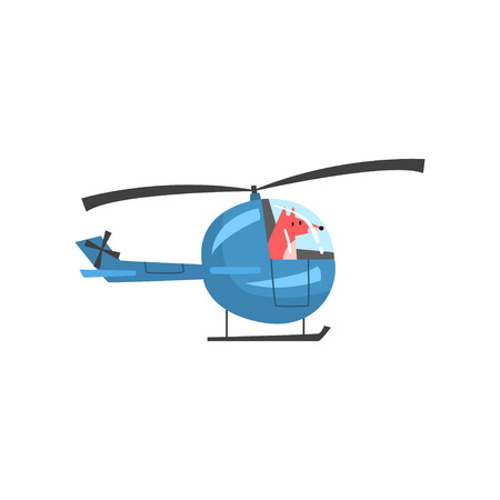 Fox Piloting Helicopter, Wild Animal Character Using Vehicle Vector Illustration on White Background.