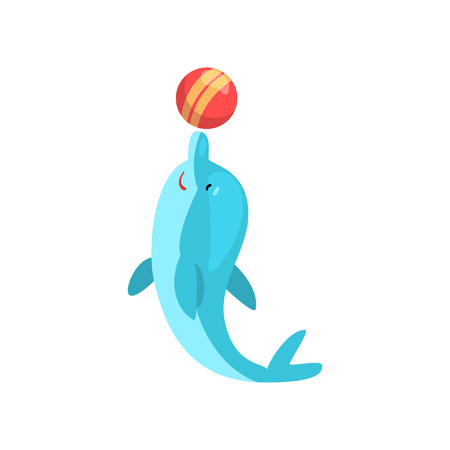 Cute Dolphin Playing with Ball, Cartoon Sea Animal Character Vector Illustration on White Background.