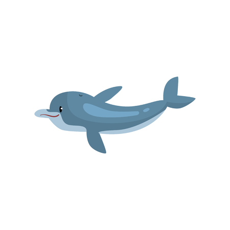 Cute Dolphin Cartoon Sea Animal Vector Illustration on White Background. Illustration