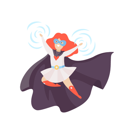 Cute Redhead Girl Wearing Superhero Costume, Super Child Character in Mask and Black Cape Vector Illustration