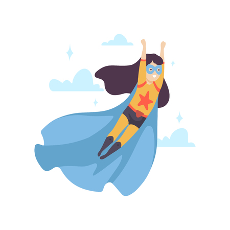 Cute Girl Wearing Superhero Costume, Super Child Character in Blue Mask and Cape Flying Vector Illustration