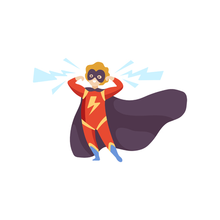 Cute Boy Wearing Red Superhero Costume, Super Child Character in Black Mask and Cape Vector Illustration