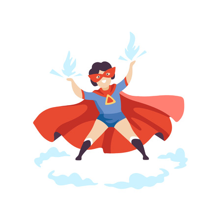 Cute Boy Wearing Colorful Superhero Costume, Super Child Character in Red Mask and Cape Vector Illustration