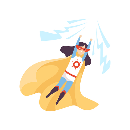 Beautiful Girl Wearing Superhero Costume, Cute Super Child Character in Mask and Golden Cape Vector Illustration