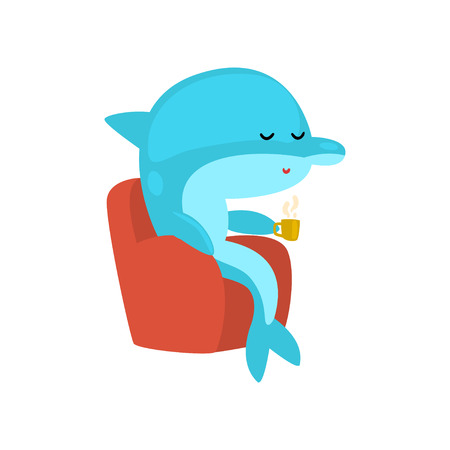 Dolphin Sitting in Armchair and Drinking Tea, Cartoon Humanized Sea Animal Character Vector Illustration on White Background.