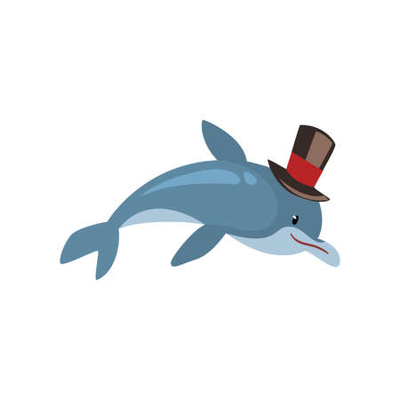 Dolphin Swimming Wearing Black Top Hat, Cartoon Humanized Sea Animal Character Vector Illustration on White Background.