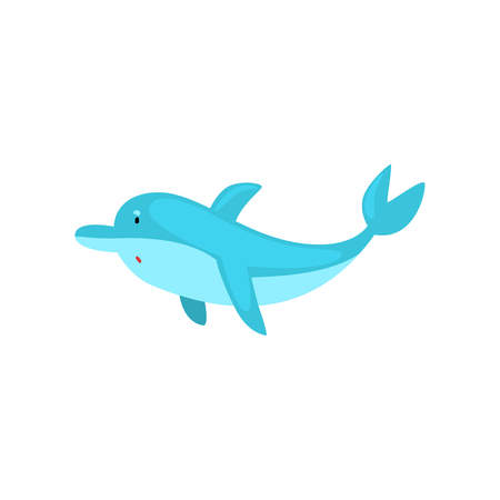 Cute Dolphin Cartoon Sea Animal Character Swimming Vector Illustration on White Background. Illustration