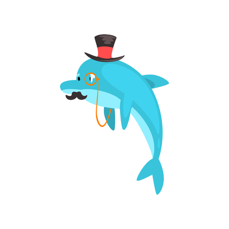 Dolphin with Mustache Swimming Wearing Black Top Hat and Retro Glasses, Cartoon Humanized Sea Animal Character Vector Illustration on White Background. Illustration