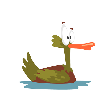 Crazy Male Mallard Duck Swimming, Funny Bird Cartoon Character Vector Illustration Çizim