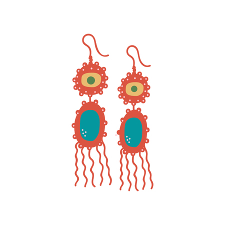 Golden Earrings with Gemstones, Fashion Jewelry Accessories with Tassels Vector Illustration on White Background.