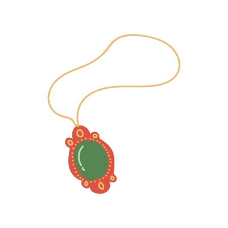 Gold Chain with Pendant, Jewelry Accessory with Green Gemstone Vector Illustration on White Background. Çizim