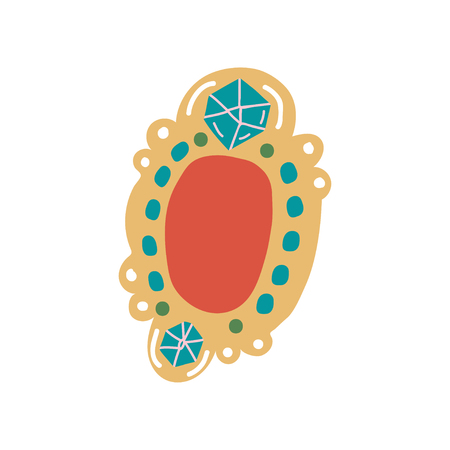 Vintage Brooch Pendant with Gemstones Jewelry Accessory Vector Illustration on White Background.