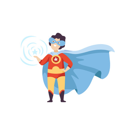 Cute Boy Wearing Colorful Superhero Costume, Super Child Character in Mask and Blue Cape Standing Vector Illustration