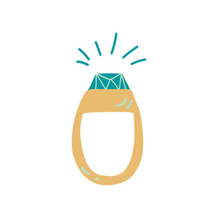 Gold Ring with Sparkling Stone, Fashion Jewelry Accessory Vector Illustration on White Background.
